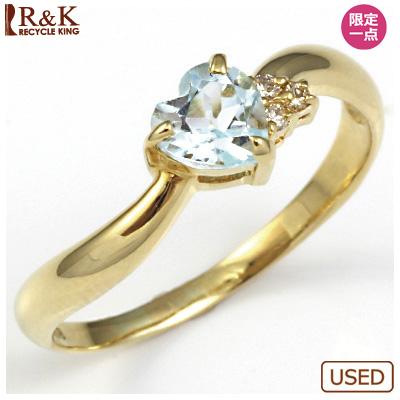 【送料無料】【中古】●K18 リング 指輪 ブルートパーズ ダイヤ ハートおしゃれ レディース 女性 かわいい 可愛い オシャレ 価格見直し3005