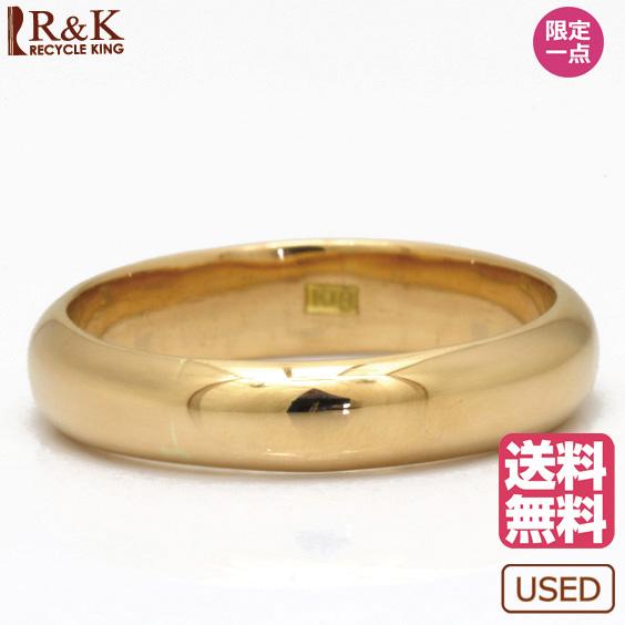 【送料無料】【中古】K18 リング 指輪 甲丸 3.5mm幅 バンドリング シンプル マリッジリング ペアリング 18金 かわいい おしゃれ レディース メンズ 女性 男性 ※ 【SH】