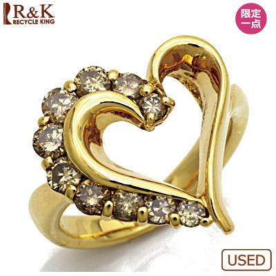 【送料無料】【中古】●K18 ダイヤモンドピンキーリング 指輪 D0.52 ハート オープンハート 18金 ファランジリング おしゃれ レディース 女性 かわいい 可愛い オシャレ 価格見直し3005