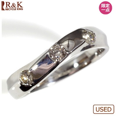 【送料無料】【中古】●K14WG ダイヤピンキーリング 指輪 D0.15 ファランジリング おしゃれ レディース 女性 かわいい 可愛い オシャレ 価格見直し3005