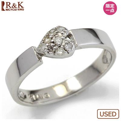 【送料無料】【中古】◎K14WG ダイヤピンキーリング 指輪 ハート パヴェ ファランジリング おしゃれ レディース 女性 かわいい 可愛い オシャレ 価格見直し3005