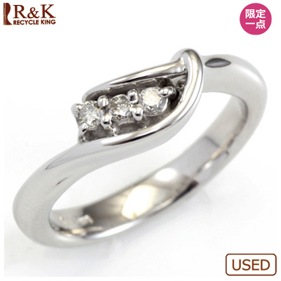 【送料無料】【中古】○K18WG ダイヤピンキーリング 指輪 D0.06 ファランジリング おしゃれ レディース 女性 かわいい 可愛い オシャレ 価格見直し0711