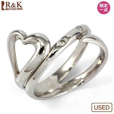 【送料無料】【中古】○K18WG ダイヤピンキーリング 指輪 D0.03 ファランジリング おしゃれ レディース 女性 かわいい 可愛い オシャレ 価格見直し0711