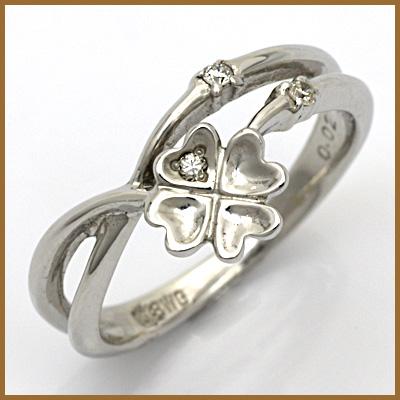 【送料無料】【中古】●K18WG ダイヤモンドピンキーリング 指輪 D0.02 クローバー 18金ホワイトゴールド ファランジリング おしゃれ レディース 女性 かわいい 可愛い オシャレ 価格見直し3005