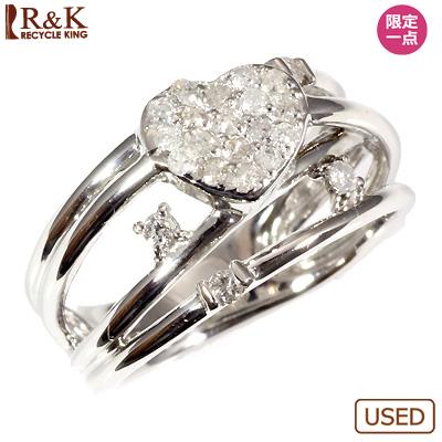 【送料無料】【中古】●K14WG ダイヤピンキーリング 指輪 D0.20 ハートパヴェ ファランジリング おしゃれ レディース 女性 かわいい 可愛い オシャレ 価格見直し3005