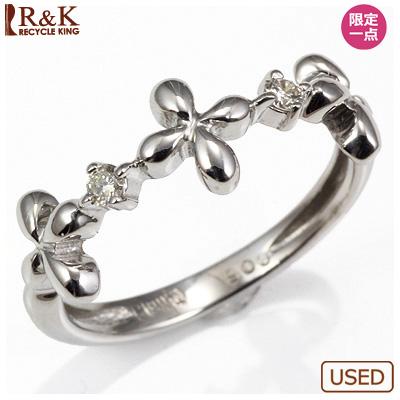 【送料無料】【中古】◎K18WG ダイヤピンキーリング 指輪 D0.05 花 フラワー ファランジリング おしゃれ レディース 女性 かわいい 可愛い オシャレ 価格見直し3005