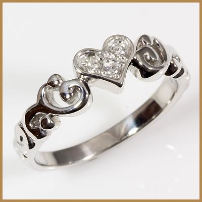 【送料無料】【中古】◎K18WG ダイヤピンキーリング 指輪 D0.03 ハート ファランジリング おしゃれ レディース 女性 かわいい 可愛い オシャレ 価格見直し3005