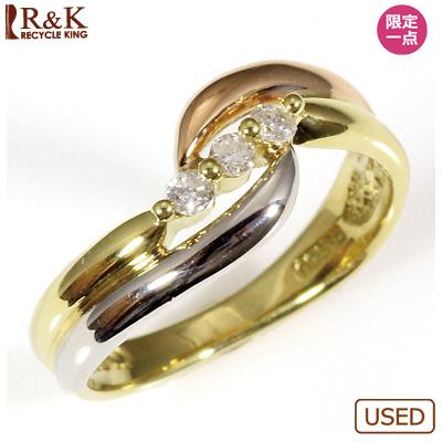 【送料無料】【中古】◎K18/PT900 3カラーピンキーリング 指輪 ファランジリング おしゃれ レディース 女性 かわいい 可愛い オシャレ 価格見直し0711
