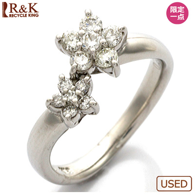 【送料無料】【中古】●K18WG ダイヤモンドピンキーリング 指輪 D0.26 フラワー 18金ホワイトゴールド おしゃれ レディース 女性 かわいい 可愛い オシャレ 価格見直し0711