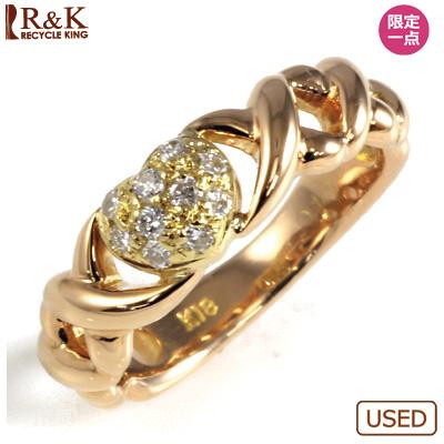 【送料無料】【中古】K18PG/K18 ダイヤピンキーリング 指輪 D0.10 ハート パヴェ ピンクゴールド ファランジリング おしゃれ レディース 女性 かわいい 可愛い オシャレ 価格見直し3005