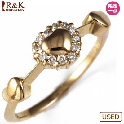 【送料無料】【中古】◎K18PG ダイヤピンキーリング 指輪 D0.08 ハート 18金ピンクゴールド ファランジリング おしゃれ レディース 女性 かわいい 可愛い オシャレ 価格見直し3005