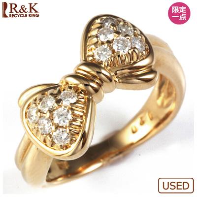 【送料無料】【中古】◎K18PG ダイヤピンキーリング 指輪 D0.20 リボン 18金ピンクゴールド ファランジリング おしゃれ レディース 女性 かわいい 可愛い オシャレ 価格見直し3005