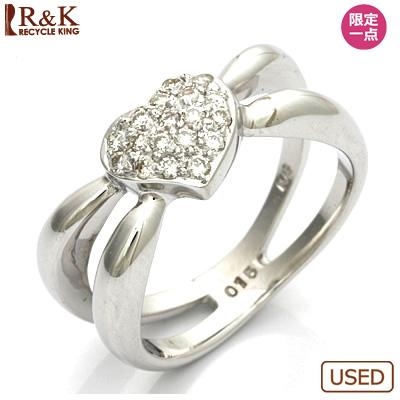【送料無料】【中古】●K18WG ダイヤモンドピンキーリング 指輪 D0.15 ハート パヴェ 18金ホワイトゴールド ファランジリング おしゃれ レディース 女性 かわいい 可愛い オシャレ 価格見直し3005