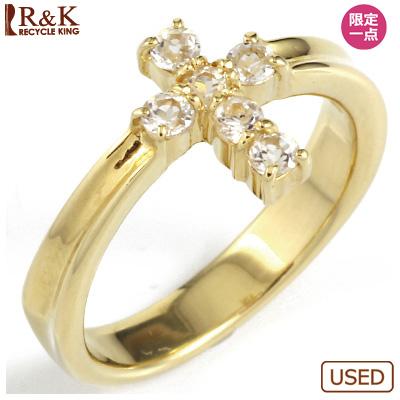 【送料無料】【中古】◎K18 ピンキーリング 指輪 ホワイトサファイヤ クロス ファランジリング おしゃれ レディース 女性 かわいい 可愛い オシャレ 価格見直し0711