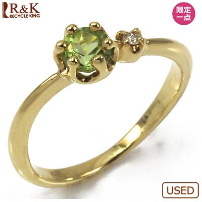 【送料無料】【中古】●K18 ピンキーリング 指輪 ペリドット ダイヤモンド 18金 ファランジリング おしゃれ レディース 女性 かわいい 可愛い オシャレ 価格見直し3005