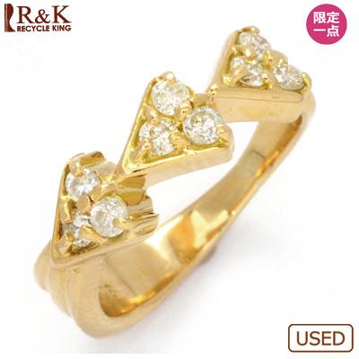 【送料無料】【中古】●K18 ダイヤモンドピンキーリング 指輪 D0.257 ハート 18金 ファランジリング おしゃれ レディース 女性 かわいい 可愛い オシャレ 価格見直し0711
