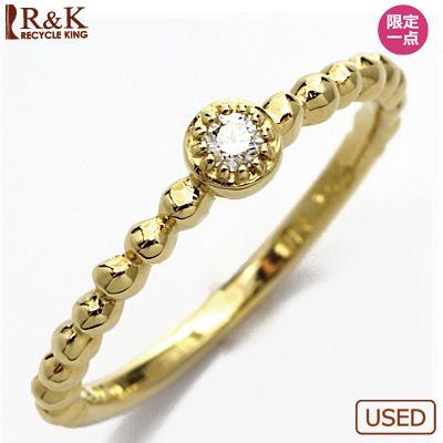 【送料無料】【中古】●K18 ダイヤモンドピンキーリング 指輪 D0.03 ドット ミルグレイン 18金 ファランジリング おしゃれ レディース 女性 かわいい 可愛い オシャレ 価格見直し3005