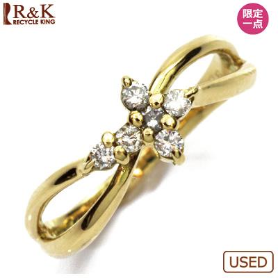 【送料無料】【中古】◎K18 ダイヤピンキーリング 指輪 D0.08 クロス 18金 ファランジリング おしゃれ レディース 女性 かわいい 可愛い オシャレ 価格見直し3005