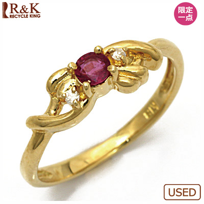 【送料無料】【中古】●K18 ダイヤモンドピンキーリング 指輪 ルビー 18金 ファランジリング おしゃれ レディース 女性 かわいい 可愛い オシャレ 価格見直し0711