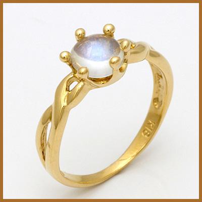 【送料無料】【中古】◎K18 ピンキーリング 指輪 ブルームーンストーン 18金 ファランジリング おしゃれ レディース 女性 かわいい 可愛い オシャレ 価格見直し3005