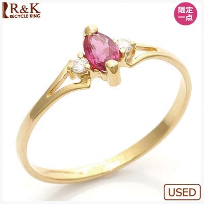 【送料無料】【中古】●K18 ピンキーリング 指輪 ダイヤモンド ルビー 18金 おしゃれ レディース 女性 かわいい 可愛い オシャレ 価格見直し3005