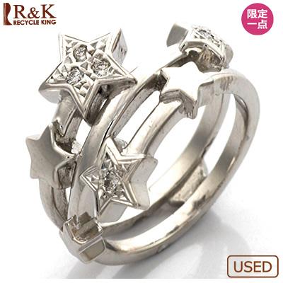 【送料無料】【中古】●K18WG ダイヤモンドピンキーリング 指輪 D0.04 スター 18金ホワイトゴールド おしゃれ レディース 女性 かわいい 可愛い オシャレ 価格見直し0711