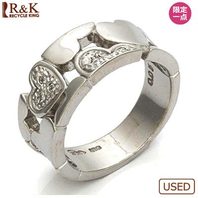 【送料無料】【中古】●K18WG ダイヤモンドピンキーリング 指輪 D0.05 ハート 18金ホワイトゴールド ファランジリング おしゃれ レディース 女性 かわいい 可愛い オシャレ 価格見直し0711