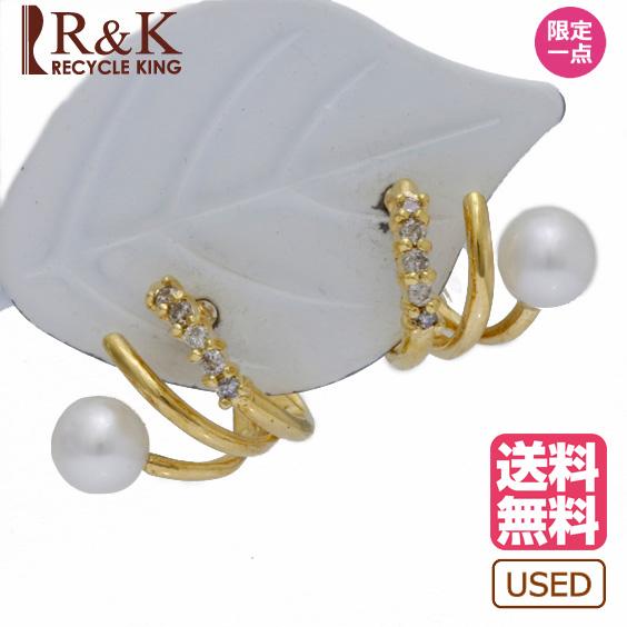 【送料無料】【中古】ピアス K18 ダイヤモンド D0.10 パール 真珠 18金 ゴールド 18K レディース メンズ おしゃれ かわいい ギフト プレゼント ※ 【SH】