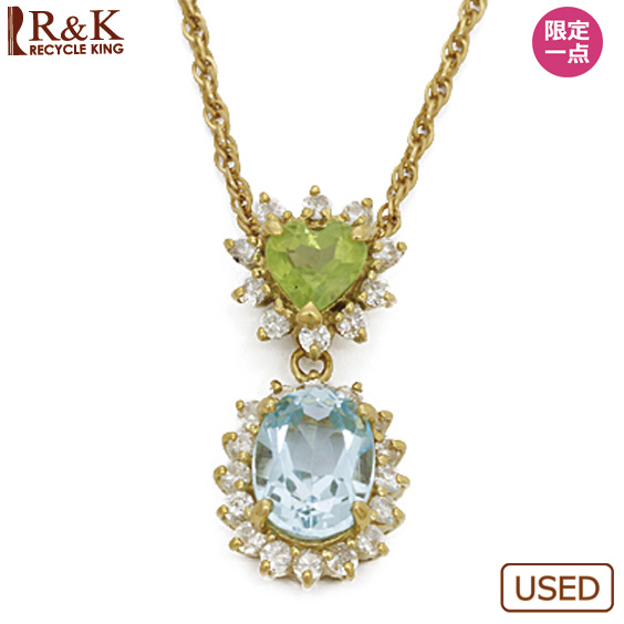 【中古】【送料無料】K18 ネックレス ダイヤモンド D0.39 ブルートパーズ ペリドット ハート 18金 ゴールド 18K レディース 女性 おしゃれ 可愛い アクセサリー プレゼント 価格見直し0711