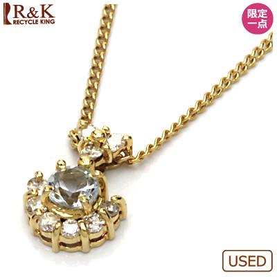 【送料無料】【中古】●K18 ネックレス アクアマリン ダイヤモンドD0.09 18金おしゃれ レディース 女性 かわいい 可愛い オシャレ 価格見直し3005