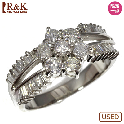 【送料無料】【中古】・PT900 ダイヤモンドリング 指輪 D1.00 花 フラワー おしゃれ レディース 女性 かわいい 可愛い オシャレ 価格見直し3005