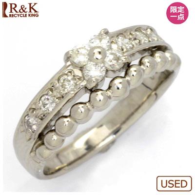 【送料無料】【中古】◎PT900 ダイヤモンドピンキーリング 指輪 D0.20 フラワー プラチナ ファランジリング おしゃれ レディース 女性 かわいい 可愛い オシャレ 価格見直し0711