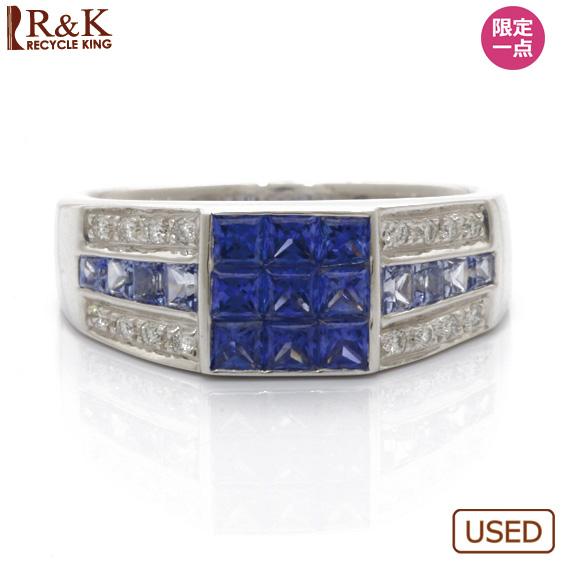【送料無料】【中古】◎K18WG リング 指輪 サファイア D1.54 ダイヤモンド D0.18 18金 ホワイトゴールドおしゃれ レディース 女性 かわいい 可愛い オシャレ アクセサリー プレゼント ギフト 価格見直し3005