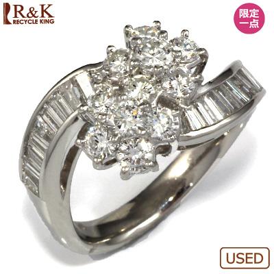 【送料無料】【中古】◎PT900 ダイヤモンドリング D1.63 フラワー レディース 女性 可愛い カワイイ かわいい おしゃれ オシャレ 価格見直し0711