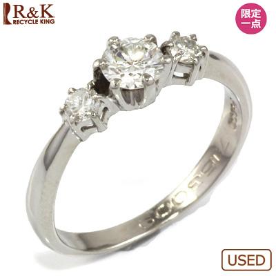 【送料無料】【中古】◎PT900 ダイヤモンドリング 指輪 D0.306/D0.14 おしゃれ レディース 女性 かわいい 可愛い オシャレ 価格見直し3005