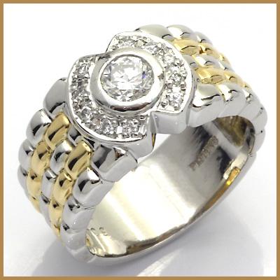 【送料無料】【中古】◎PT900/K18 ダイヤモンドリング 指輪 D0.36/D0.09 プラチナ 18金 おしゃれ レディース 女性 かわいい 可愛い オシャレ 価格見直し3005