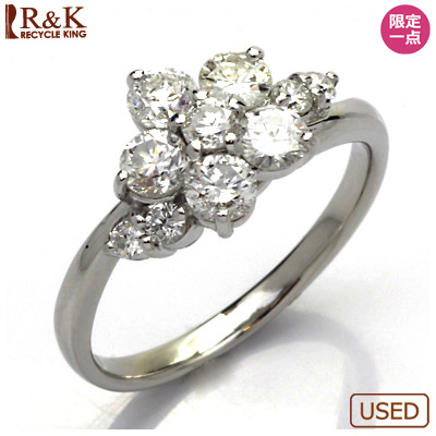 【送料無料】【中古】◎PT900 ダイヤモンドリング 指輪 D1.03 フラワー プラチナ おしゃれ レディース 女性 かわいい 可愛い オシャレ 価格見直し3005