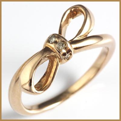 【送料無料】【中古】●K10PG ダイヤピンキーリング 指輪 D0.01 リボン 10金ピンクゴールド ファランジリング おしゃれ レディース 女性 かわいい 可愛い オシャレ 価格見直し3005