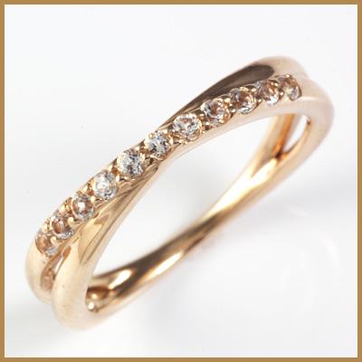 【送料無料】【中古】◎K18PG リング 指輪 ホワイトサファイヤ クロスライン 18金ピンクゴールドおしゃれ レディース 女性 かわいい 可愛い オシャレ 価格見直し3005
