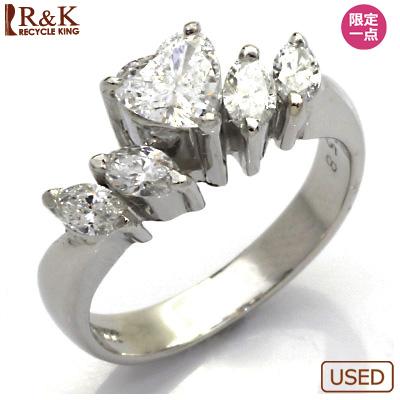 【送料無料】【中古】◎PT900 ダイヤモンドリング 指輪 D0.358/D0.40 ハート プラチナ おしゃれ レディース 女性 かわいい 可愛い オシャレ 価格見直し3005
