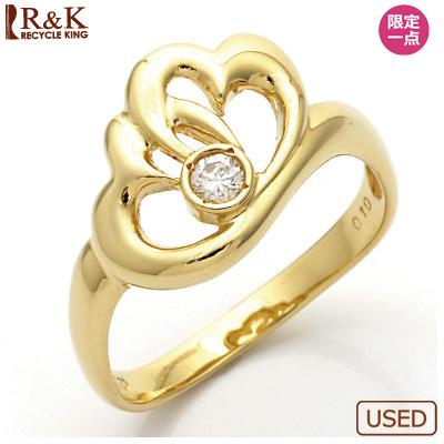 【送料無料】【中古】◎K18 ダイヤモンドリング 指輪 D0.10 ハート 18金 おしゃれ レディース 女性 かわいい 可愛い オシャレ 価格見直し3005