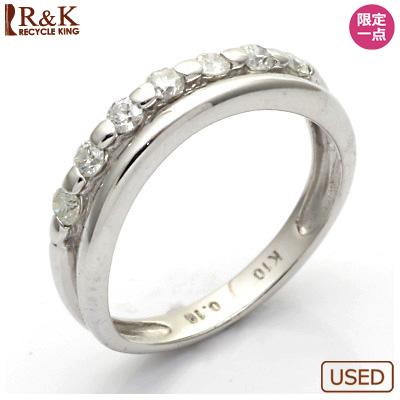 【送料無料】【中古】◎K10WG ダイヤモンドピンキーリング 指輪 D0.16 10金 ファランジリング おしゃれ レディース 女性 かわいい 可愛い オシャレ 価格見直し0711