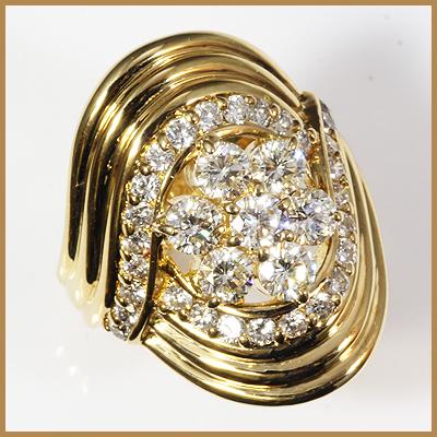 【送料無料】【中古】●K18 ダイヤモンドリング 指輪 D2.00 フラワー 花 おしゃれ レディース 女性 かわいい 可愛い オシャレ 価格見直し3005