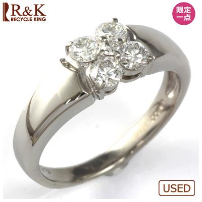 【送料無料】【中古】◎PT900 ダイヤモンドリング 指輪 D0.50 フラワー おしゃれ レディース 女性 かわいい 可愛い オシャレ 価格見直し0711