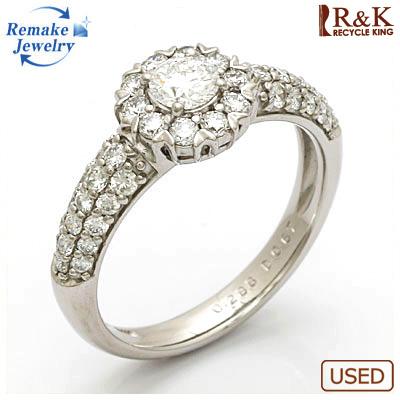 【送料無料】【中古】◎PT900 ダイヤモンドリング 指輪 フラワー D0.958 VVS-2 E EXCELLENT 鑑定書付き リメイクジュエリー プラチナ おしゃれ レディース 女性 かわいい 可愛い オシャレ 価格見直し0711