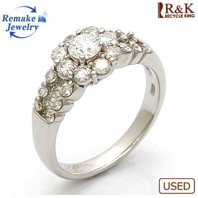 【送料無料】【中古】◎K18WG ダイヤモンドリング 指輪 フラワー D1.117 VVS-2 E EXCELLENT 鑑定書付き リメイクジュエリー プラチナ おしゃれ レディース 女性 かわいい 可愛い オシャレ 価格見直し3005