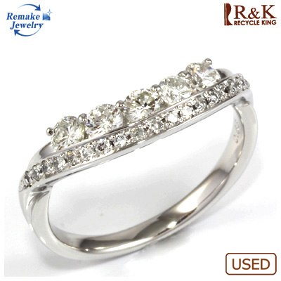 【送料無料】【中古】K18WG ダイヤモンドリング 指輪 D0.68 リメイクジュエリー 〔地金は新品〕おしゃれ レディース 女性 かわいい 可愛い オシャレ 価格見直し0711