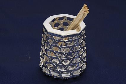 【送料無料】【中古】銀製 楊枝入れ つまようじ 小物立て シルバー 銀 籠編み型 容器 ストッカー SILVER