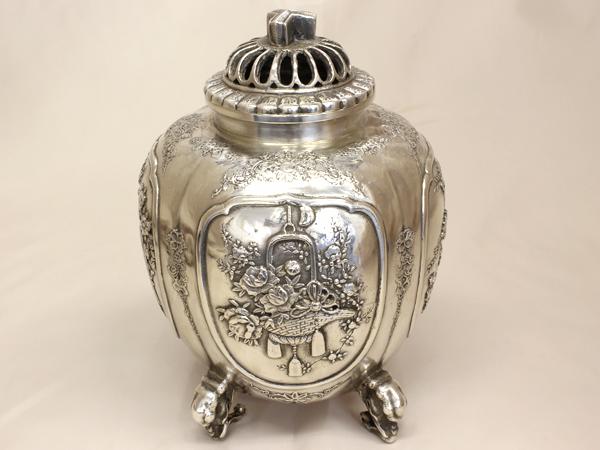 【送料無料】【中古】SV900 銀製 香炉 青鳳