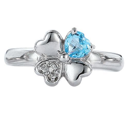【送料無料】【新品】□ K10WG クローバー ピンキーリング 指輪 ブルートパーズ ダイヤモンド D0.02 10金 ファランジリング おしゃれ レディース 女性 かわいい 四つ葉 誕生日 誕生石